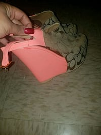 unpaired pink and black leather open toe ankle str Atlanta, 30303