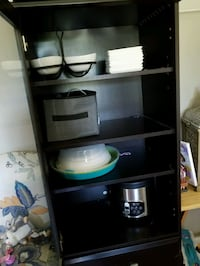 black tall cabinet w/shelves &2 drawers