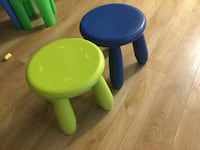 Toddler stools - green and blue
