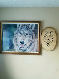 Beautiful Wolf picture & handmade wood   Wolf  Edmonton, T5T 3R6