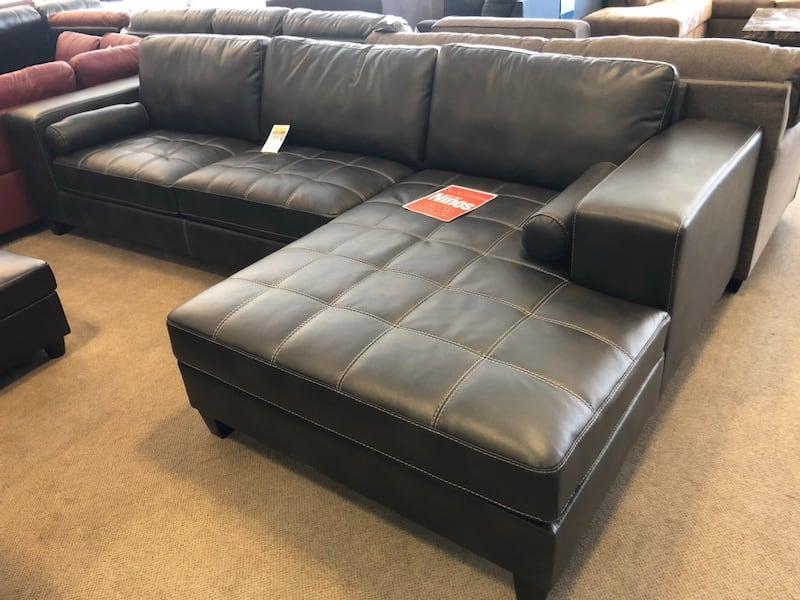 Used Gray Leather Sectional Sofa On