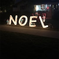 Outdoor Christmas Noel holographic with chasing light penguins