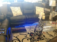 black leather couch with blue neon light Pharr, 78577