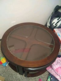 round brown wooden framed glass top coffee table Allen, 75002
