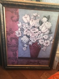 white and pink flower painting with brown wooden frame Rosemère, J7A 4Y8