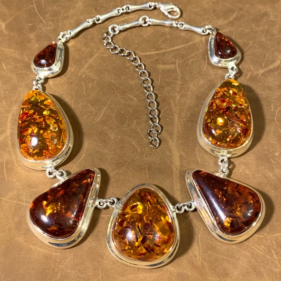 Vintage Sterling SIlver Amber Necklace 4