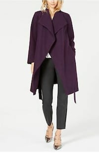 Alfani Dark Fig Purple Wool Blend Draped Front Belted Coat Sz S M San Jose, 95119