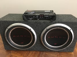 ROCKFORD FOSGATE 2 12 inc Subwoofers and Amplifier.