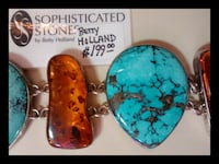 STERLING SILVER TURQUOISE & AMBER BRACELET Stone Mountain, 30087