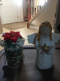 Wooden Angel w/ lighted poipouri jar. Blandon, 19510