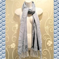 WOMENS BABY BLUE SCARF WITH FRINGE    Ontario, 91762