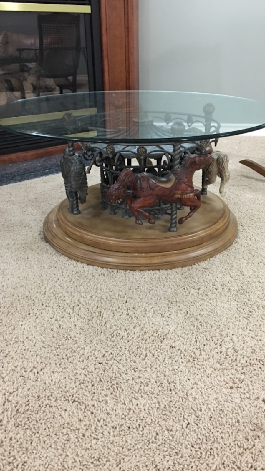 Black And Brown Carousel Based Clear Glass Top Coffee Table In St Clair Township Letgo