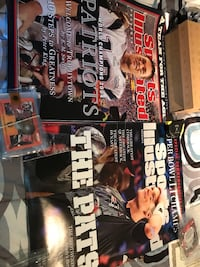 2 Tom Brady enlarged 18x 24 SI magazine covers of patriots championships and 1 of team celebration after winning Super Bowl Billerica, 01821
