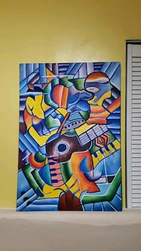 blue, yellow, and green abstract painting Hollywood, 33024