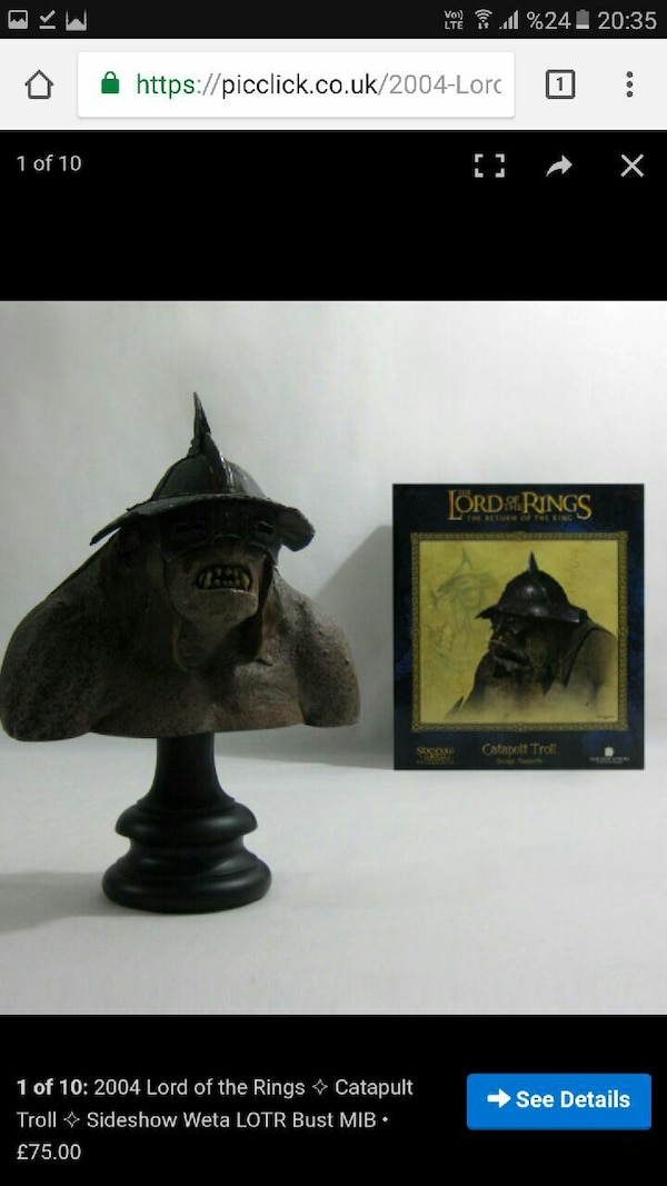 Lord of the Rings Catapult Troll S.show WETA BUST