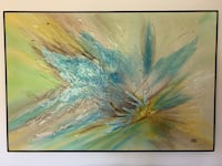 "Large Mid-Century Carlo ""Blue Blossom"" Mixed Medium Painting Burnaby"