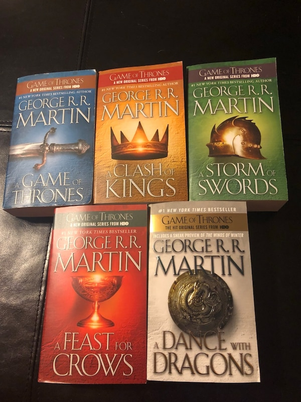 A Game of Thrones/ A Clash of Kings/ A Storm of Swords/ A Feast of Crows/A Dance with Dragons