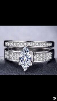 Elegant Marquise Cut White Sapphire 925 Sterling Silver New BridalSet