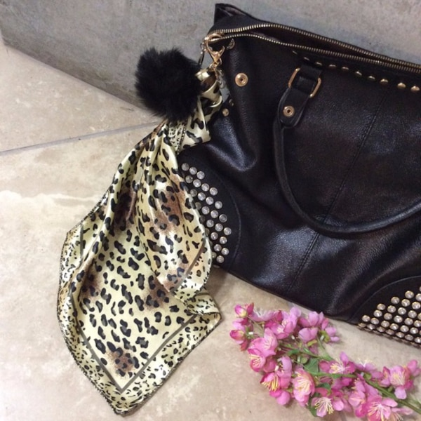 NEW FUR BALL KEYCHAIN ANIMAL PRINT BLACK BROWN SILK GOLD LEOPARD SATIN BLACK POM CLASP BROWN CREAM TAN FUZZY BALL FOR BAG OR PURSE ADDS TOTE ACCESSORY 7491ccd0-85ce-4986-b652-2d6e23389625