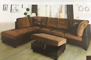 Brown microfiber sectional couch and ottoman