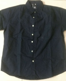 black collared button-up shirt