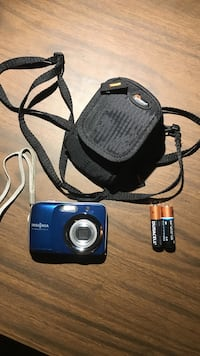 Blue Insignia point-and-shoot camera with bag