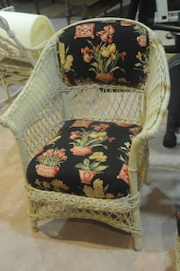 antique upholstered cushion white wicker chair CHEVYCHASE