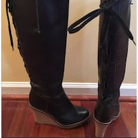 Juicy Couture tall black leather boots women size 9.5 excellent condition  Puyallup, 98375