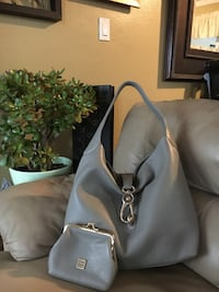 Gray and black buckle hobo with coin purse Cheney