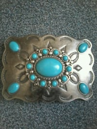 Silver belt buckle with genuine turquoise inlay Belleville