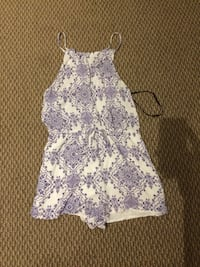 Forever 21 white and blue floral spaghetti strap onesie shorts never worn