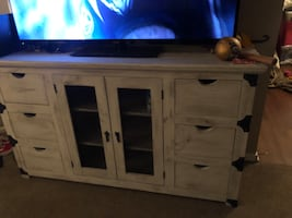 Rustic wood ottoman and TV Stand