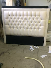 tufted cream color fabric  queen size bed headboard