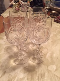 Four crystal wine glasses