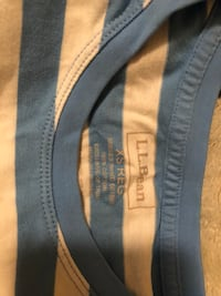L.L.Bean blue and white striped t-shirt. Size xs (runs a little big) brand new with tags.  336 mi