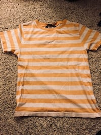 orange and white stripe scoop neck shirt