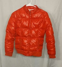 red leather zip up bubble jacket