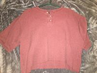 red scoop neck long sleeve shirt