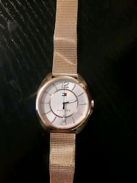 round silver analog watch with gold link bracelet Barrie, L4N 0A9