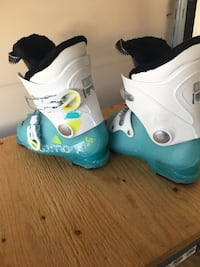 Pair of white-and-blue ski boots Vancouver, V5Z 1X5