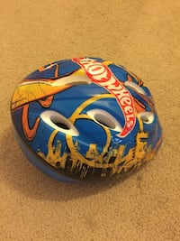 Blue yellow and red hot wheels print toddler bicycle helmet