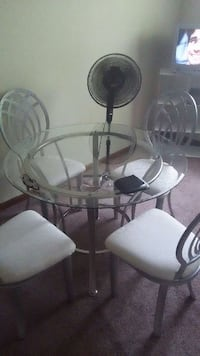 silver frame round glass top table with 4 chairs Americus, 31719