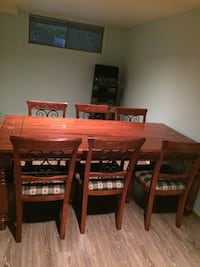 rectangular brown wooden table with six chairs dining set Montréal, H1G