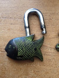 Fearless Fish Tibet Buddhist Vintage Style Brass PadLock Lock  Lock dimensions:  3.5 Inches Tall x 3 Inches Wide   Toronto, M5P 2V5