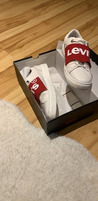 pair of white low top sneakers Montréal, H1X 2G4