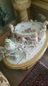 white and pink floral ceramic tea set Montreal, H3R 3L4