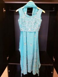 Sky Blue and Silver Crystal Indian Outfit