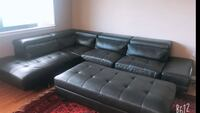 Black leather sectional sofa with ottoman Falls Church, 22046
