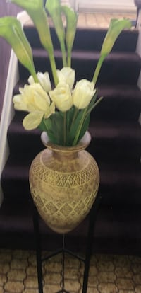 Beautiful tall pot, planter or vase candle stand and crystal lamps!