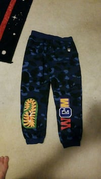 black and blue camouflage pants